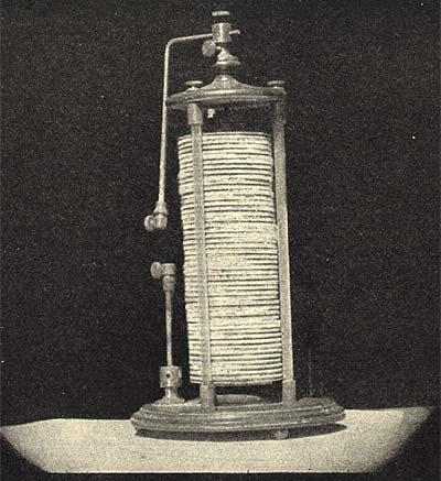 The First Electric Cell Volta S Battery Or Voltaic Pile Made In 1800 Consisted Of A Number Silver Coins And Equal Zinc Disks
